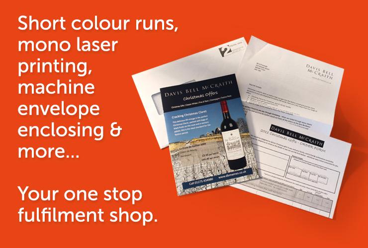 Short colour runs, mono laser printing machine envelope enclosing.